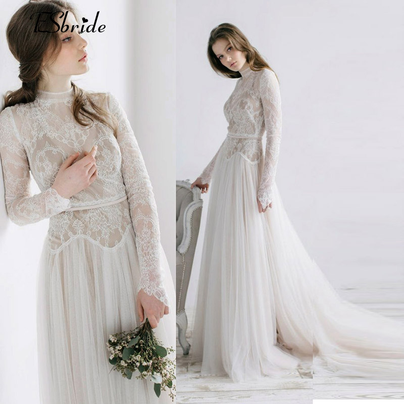 Bohemian Wedding Dresses Vintage French Lace Long Sleeve