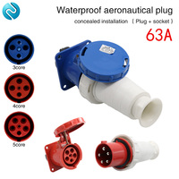 Aviation plug socket industrial waterproof connector 3 core 4 core 5 core 63A concealed installation aviation butt plug