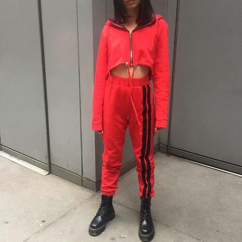 2018 dames Sportswear Jogging pantalon court Zipper hauts rayé Sport pantalon costume femme en plein air course costume femmes Sport Joggers