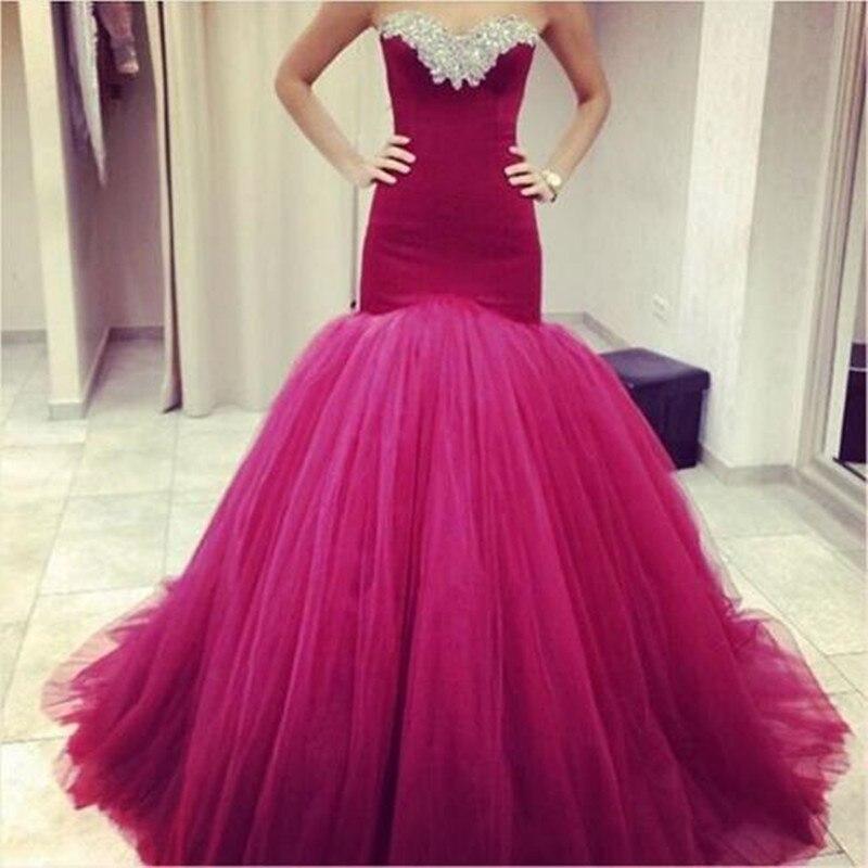 2016 Beautiful Burgundy Peach Pink Mermaid Prom Dresses Back Open ...