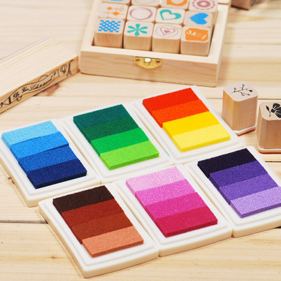New 2017 Child Craft Oil  Gradient Color Based Diy Ink Pad Rubber Stamps Paper Scrapbooking 15 Colors Inkpad Finger Paint the new diy 6 6cm rubber stamp inkpad inkpad octagonal color ink finger painting 22 colors