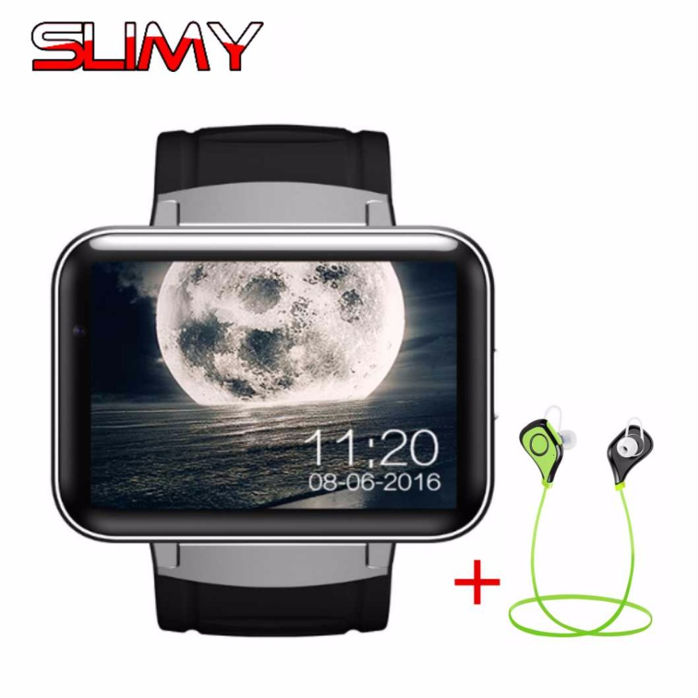 Slimy DM98 Smart Watch 3G WCDMA Android 4.4 OS GPS MTK6572 Dual Core 2.2 Inch HD IPS LED Screen 900mAh Battery 512MB Ram 4GB Rom zgpax s5 watch smart phone dual core 1 54 inch capacitive touch screen android 4 0 512mb ram 4g rom 2mp camera with gps silver black
