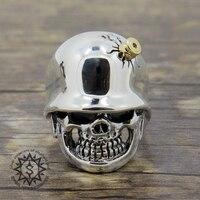 925 Стерлинговое Серебро Палец шлем с черепом пуля мужское кольцо