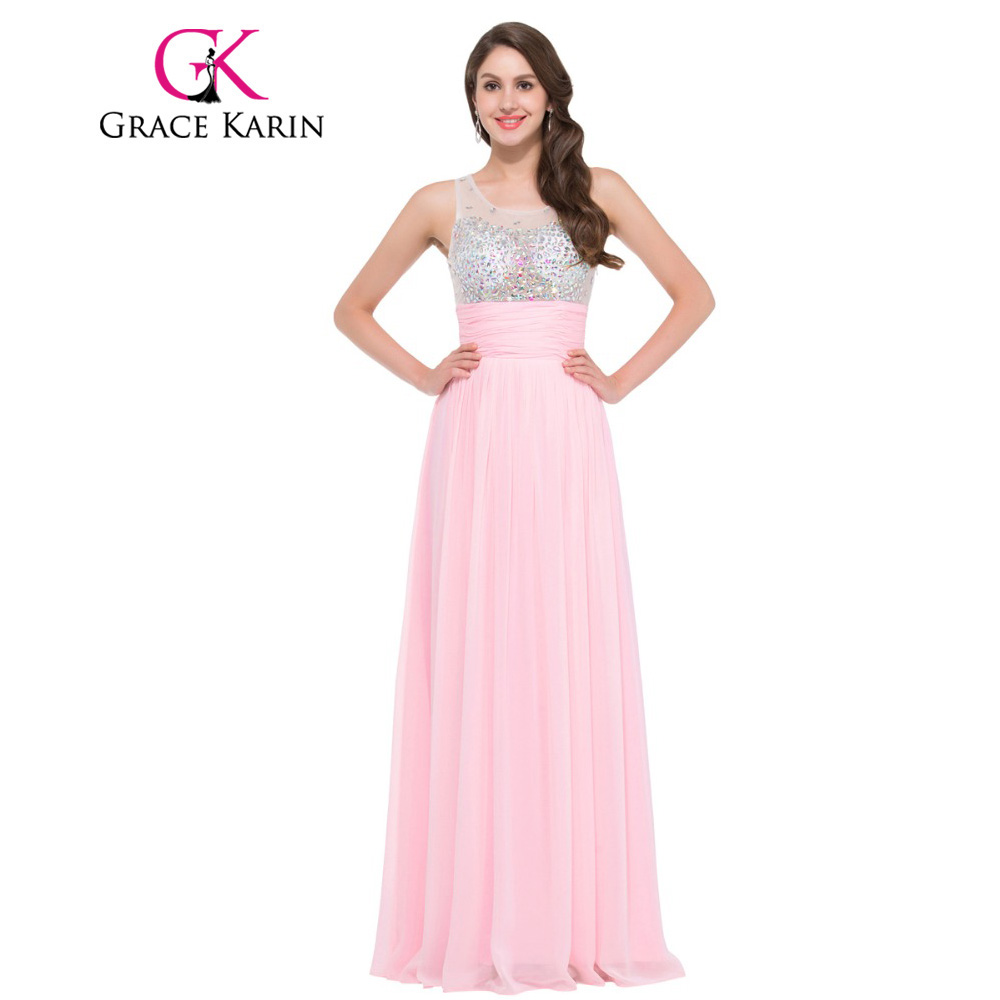 Grace Karin 2017 Galajurken Long   Prom     Dress   Women Floor Length Pink Green Lilac Turquoise Robe De Soiree Longue   Prom     Dress   Gown