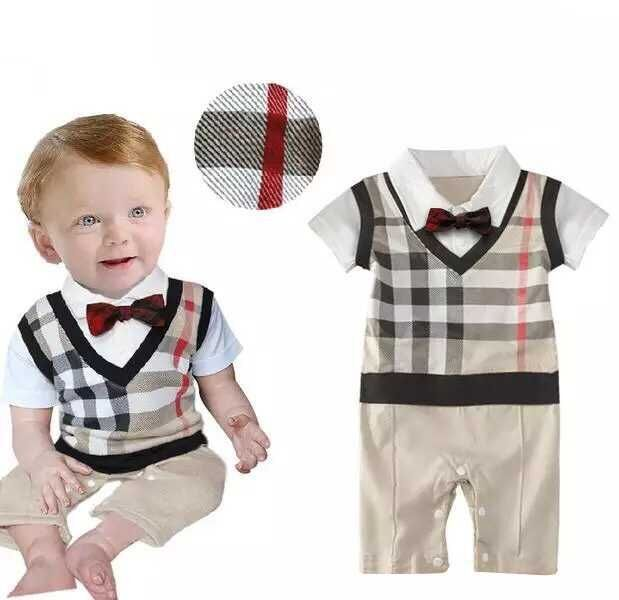 00865b60974f baby boy fashion romper Wear Cotton Plaid Romper Boys Gentleman ...