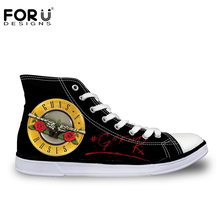 New Guns N Roses Pattern Printed Shoes for Women Men Casual Shoes Breathable Fashion High Top Canvas Shoes Vulcanization Shoe