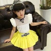Children S Clothing Female Child Summer 2015 Set Skirt Child Princess Dress Short Sleeve Short Skirt