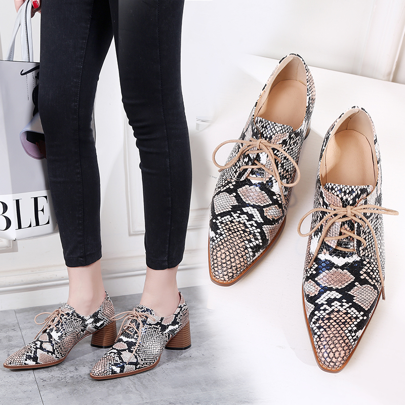 2019 Autumn High Heels Women Pumps Pointed Toe Lace Up Footwear Snake Printing Pu Leather Ladies Shoes Fashion Mules Shoes Woman