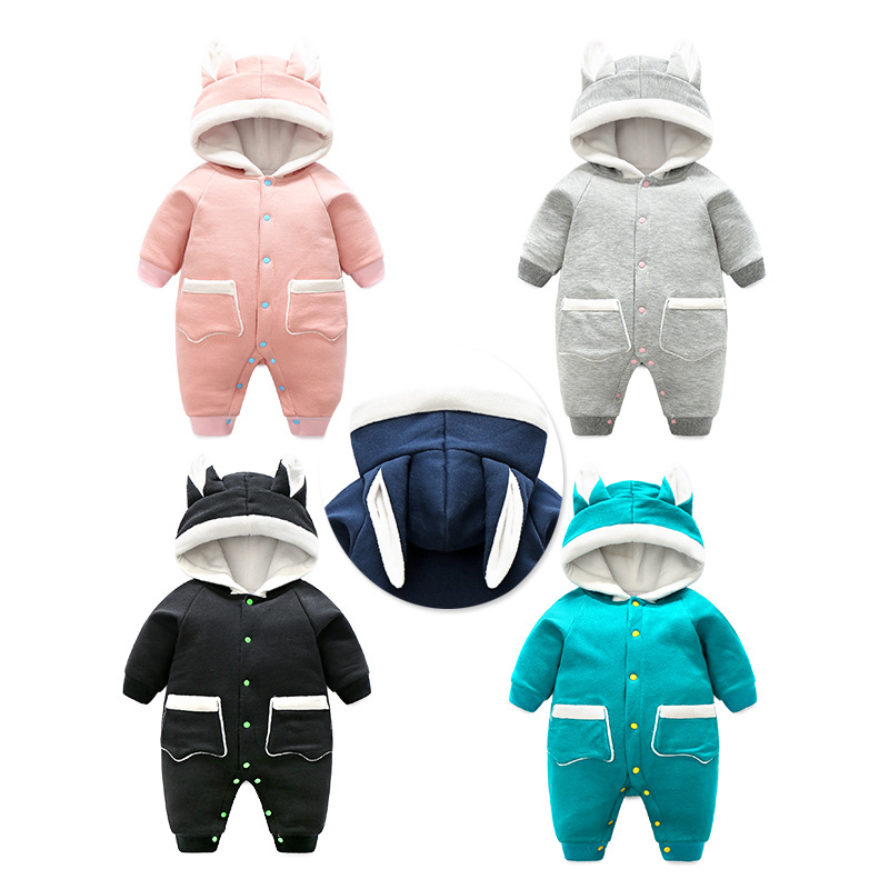 Pocket Infant Girls Rompers Baby Thicken Clothes Spring And Autumn Jacket Red Boys Body Jumpsuit Toddler Cotton Hooded Wear