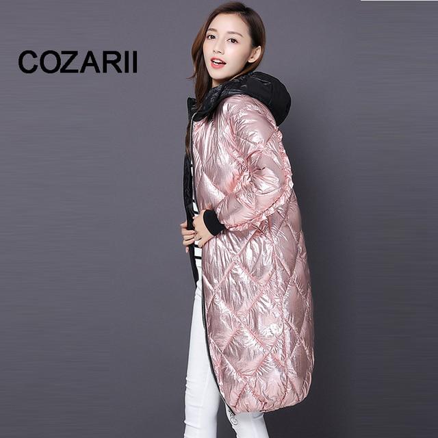 Big Sale COZARII winter jacket women coats Long cotton padded slim parka New 2018 silver down jackets ladies hooded autumn outerwear