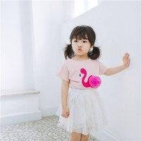 Verão Bebê Menina Top Branco de Manga Curta T-shirt Verão Crianças 3D Flamingo T Camisa de Algodão Da Criança Bonito Dos Desenhos Animados Meninas 2018 NOVAS MARCAS
