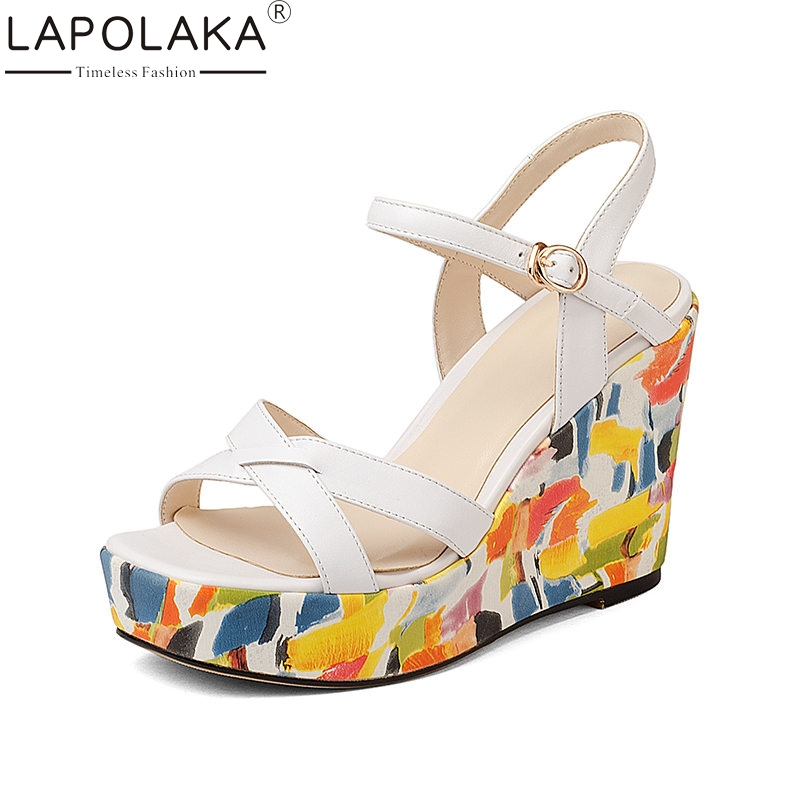 LAPOLAKA 2018 Summer Brand Colorful Women Sandals Genuine Leather Ethnic Platform Shoes Woman Concise High Wedges Shoes Woman lapolaka 2018 brand new horsehair woman elegant wedges high heel women shoes platform black summer sandals women