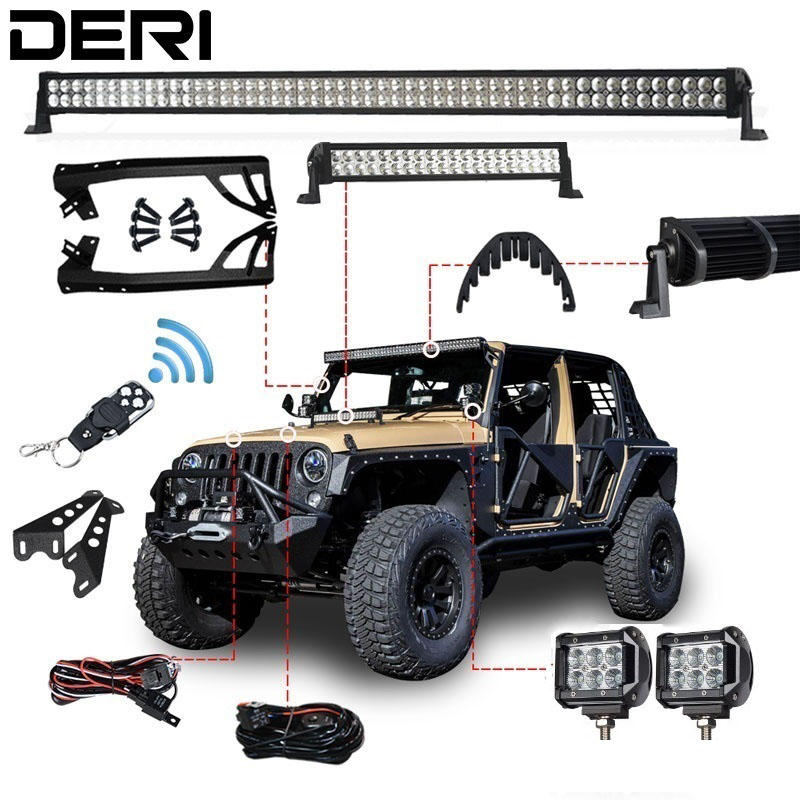 """52"""" 22"""" 4"""" 300W 120W 18W Dual Row Combo Straight Offroad LED Work Light Bar Remote Control Switch For JEEP Wrangler JK 07-17 Kit"""