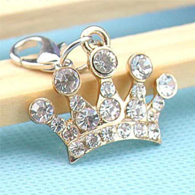 1 шт. горный хрусталь брелок в виде короны для женщин кулон брелок Блестящий серебряный/позолоченный металл ПЭТ имя бирка ювелирные изделия