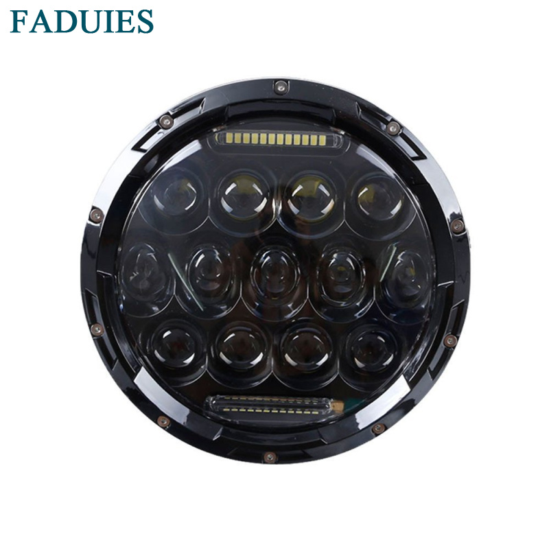 FADUIES Black 7 Inch 75W Round  LED Projector Headlight Waterproof Bulb For Harley Motorcycle Touring Led Headlamp