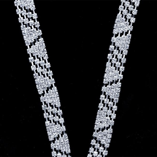 100Yards Silver Crystal Applique Rhinestone Bridal Trim Fashion Chain Fringe Embellishment New