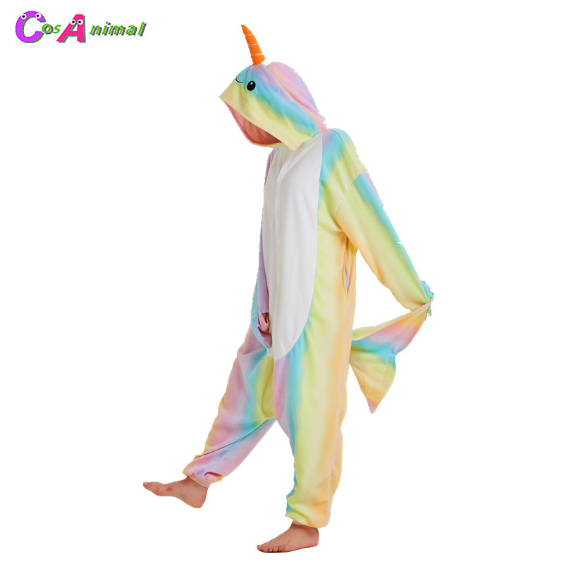 Women's Costumes Hksng Women Men Winter Adult Animal Footed Whale Pajamas Kigurumi Onesies Narwhals Cetacean Cosplay Costume For Christmas Party Selected Material