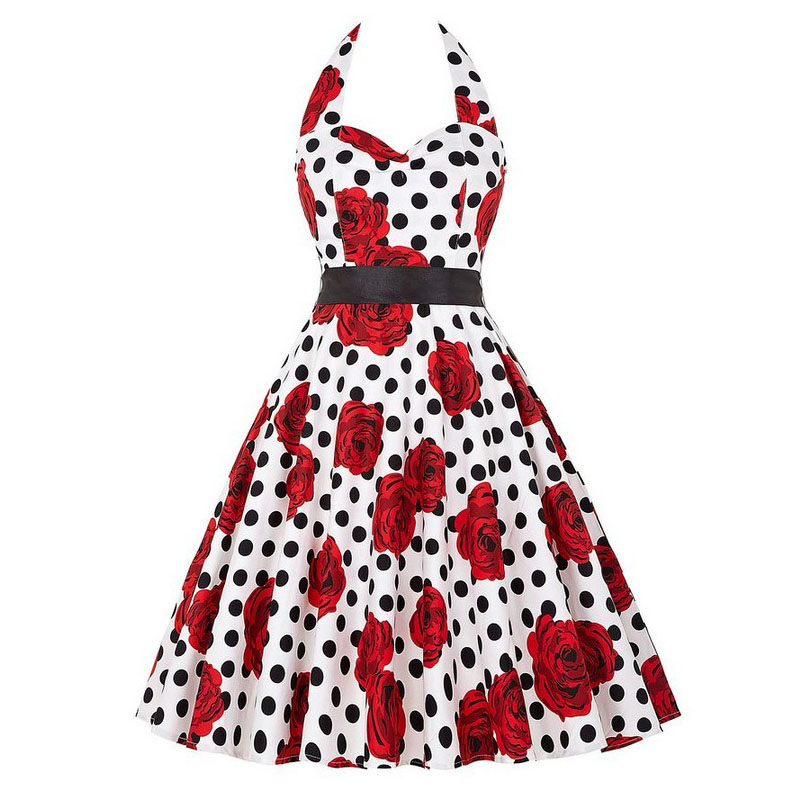 Sexy Halter Party Dress Retro Polka Dot Hepburn Vintage 50s 60s Pin Up Rockabilly Dresses Robe Plus Size Elegant Midi Dress 21