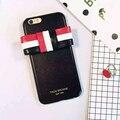 2016 Мода ТБ Полосой Бантом Кожаный Чехол Для iPhone 6 6 S 6 Плюс ТОМ БРАУН Нью-Йорк Стиль Мобильного Телефона случае