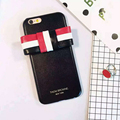 2016 moda tb stripe bowknot caso de couro para o iphone 6 6 S 6 Plus THOM BROWNE New York Style Mobile Phone caso