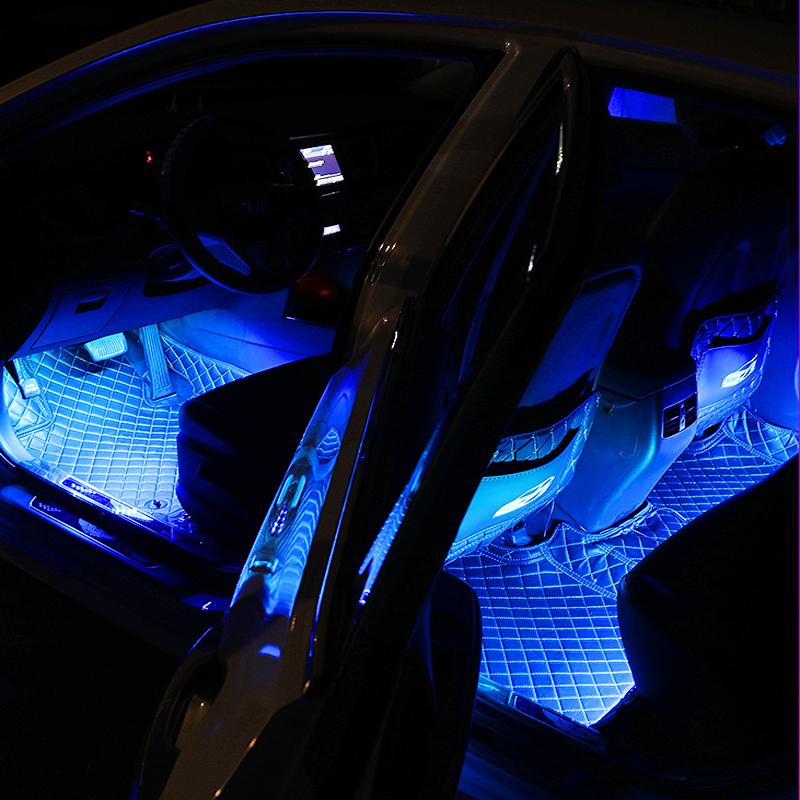12 LED Car Interior Floor Foot Lamp AUTO Decoration Light With USB Multiple Modes Car Styling Atmosphere RGB Neon Lamp Strips