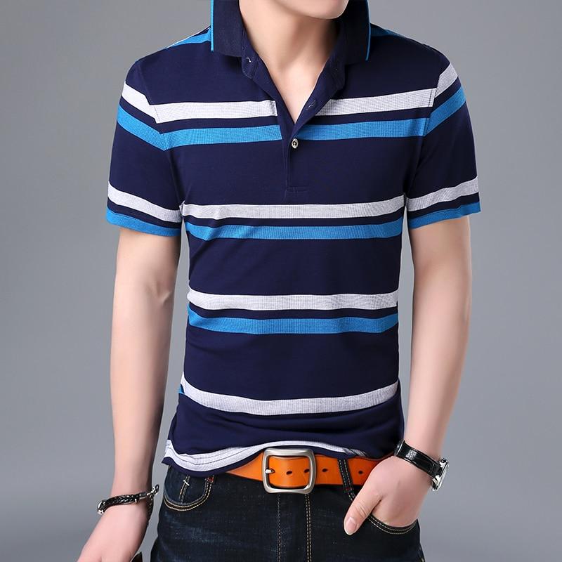 2019 New Fashion Brand   Polo   Shirt Men's Cotton Striped Summer Short Sleeve Slim Fit British Style Poloshirt Casual Mens Clothing
