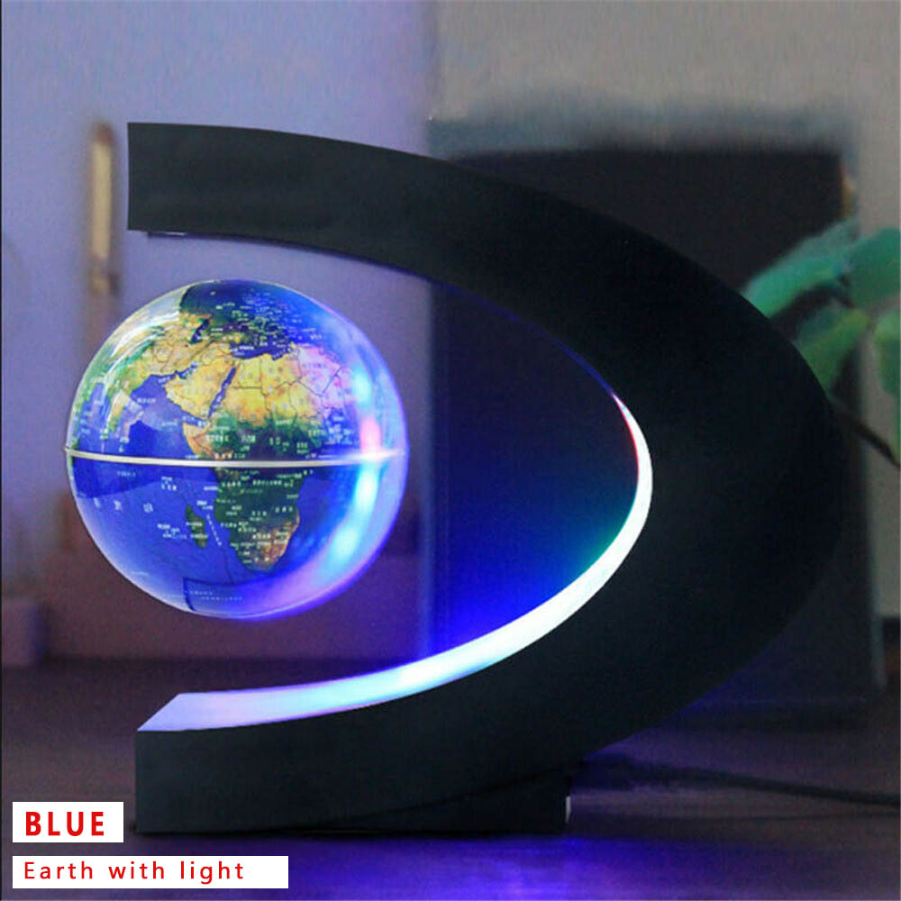 C Shape Magnetic Levitation Floating World Map Globe LED Light Decoration Office AU/US/EU/UK Plug