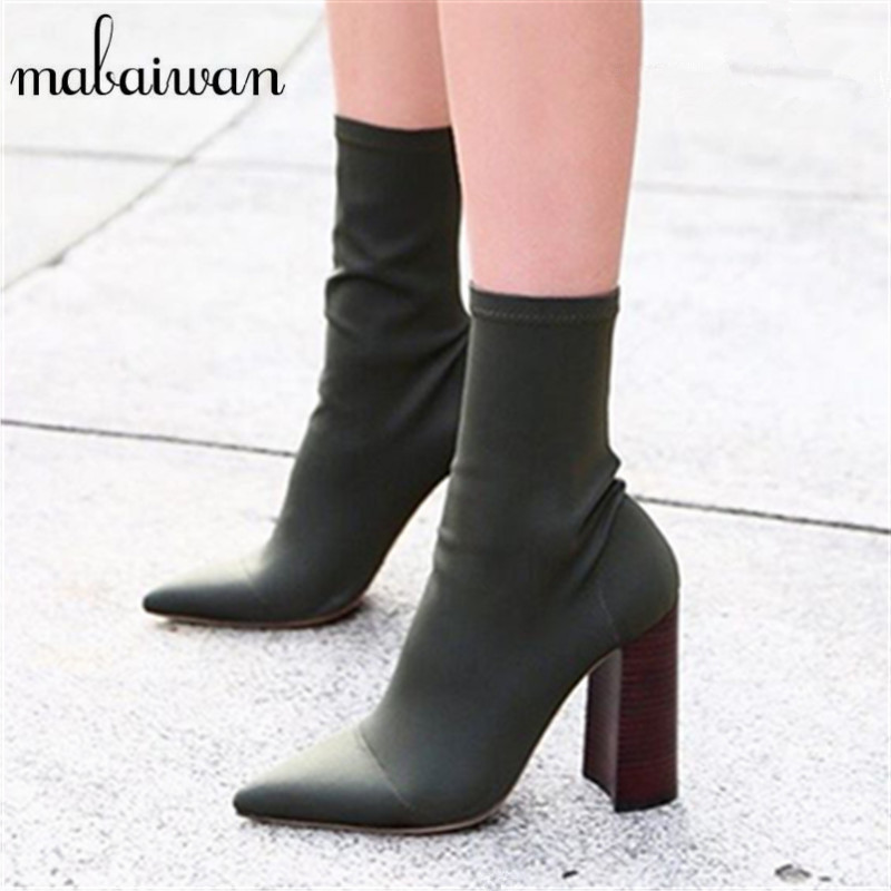 Mabaiwan Green Elastic Fabric Ankle Boots Chunky High Heels Stretch Women Autumn Sock Boots Pointed Toe Women Pumps Botas Mujer fashion kardashian ankle elastic sock boots chunky high heels stretch women autumn sexy booties pointed toe women pumps botas