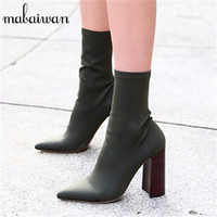 Fashion Elastic Sock Ankle Boots Chunky High Heels Stretch Fabric Women Autummn Black Sexy Booties Pointed