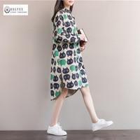 2017 nuevo de las mujeres gran patio loose ocio primavera vestidos de las señoras de la alta calidad de impresión muñeca trajo de manga larga casual dress ok705