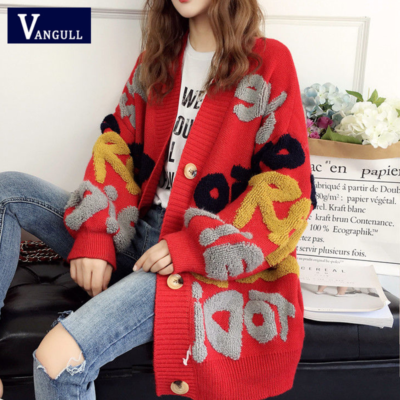 Vangull Women Letter Print Knitted Sweater Spring Autumn New Korean Long Sleeve Single Breasted Thick Fashion Loose Cardigan