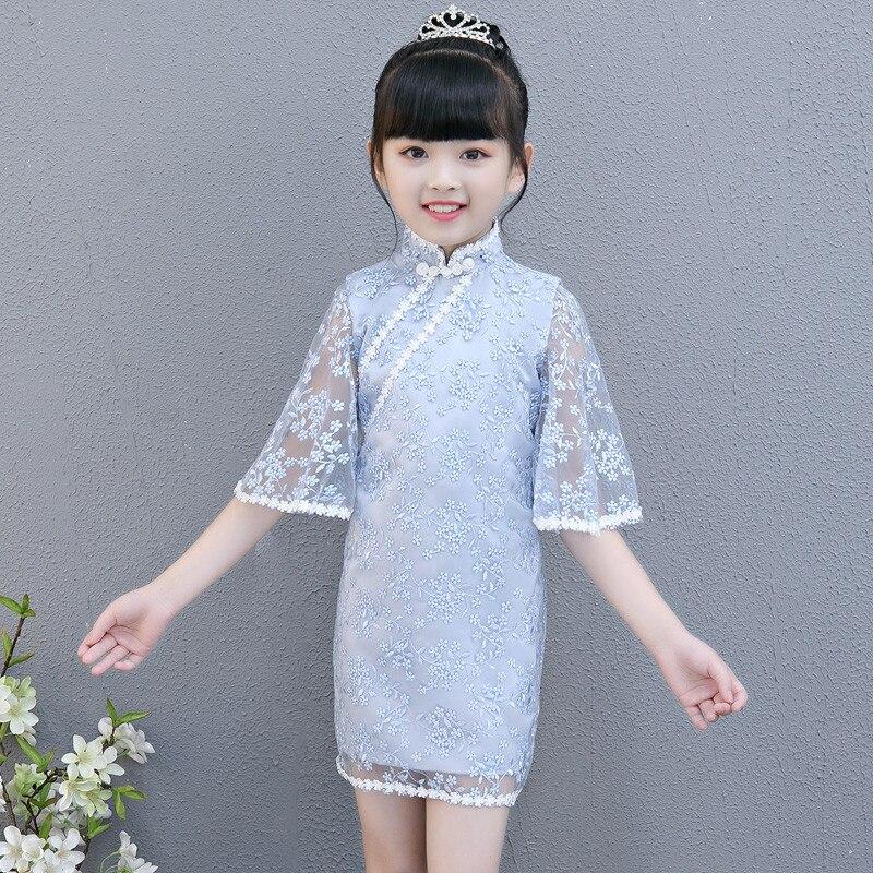 9682ab58f 2018 Summer Autumn New Chinese Traditional Wind Children Girls Cheongsam  Birthday Party Dress Teens Baby Piano. sku: 32918856095