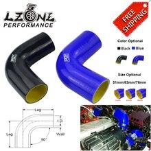 """Livraison gratuite noir/bleu 2.0 """"51mm/2.5 63mm / 3 76mm 90 degrés 45 degrés coude Silicone tuyau tuyau Turbo admission"""