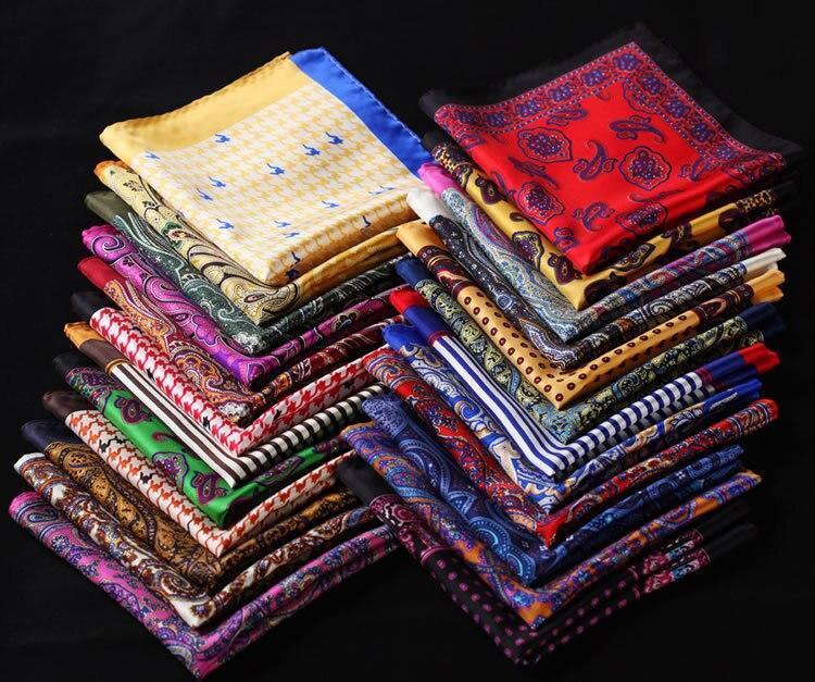 RA Dot Paisley Floral Stripe Anchor Handkerchief 100% Natural Silk Satin Mens Hanky Fashion Classic Wedding Party Pocket Square