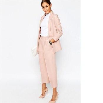 Popular Pink Lady Trouser Suit Blazer Jacket+Pants Female Office Uniform Business Work Court Wear B151