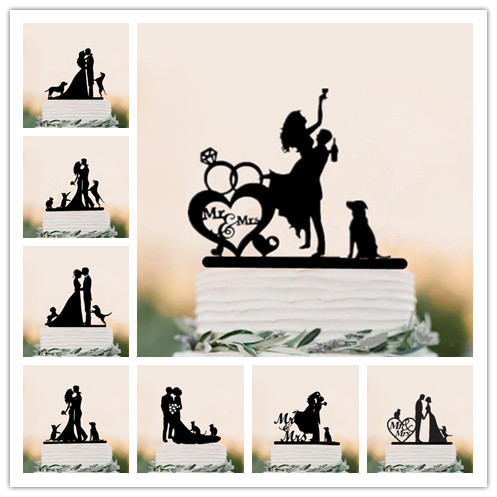 Mixed Style <font><b>Black</b></font> Acrylic Bride and Groom Silhouette with Pet Dog <font><b>Cat</b></font> Mr & Mrs <font><b>Toppers</b></font> for Wedding <font><b>Cake</b></font> Decorating Accessory image
