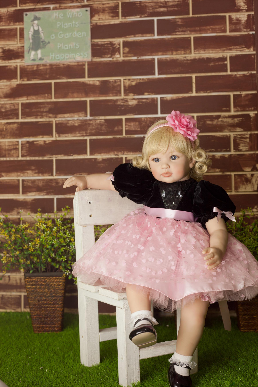 NPK 60CM bebe doll reborn baby doll Handmade Silicone adorable reborn toddler Bonecas girl kid silicone