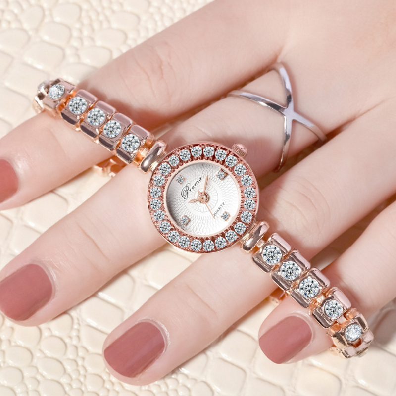 PREMA Ladies Watch Luxury Bracelet Watches Rose Gold Rhinestone Quartz Wristwatch  Female Clock Relogio Feminino Wrist Watch