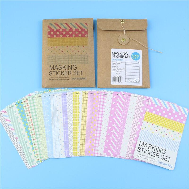 27 Pcs/lot Washi Scrapbook Basic Pastel Masking Tape Craft Stickers Pack Diy Album Diary Decorative Labelling Art Adhesives