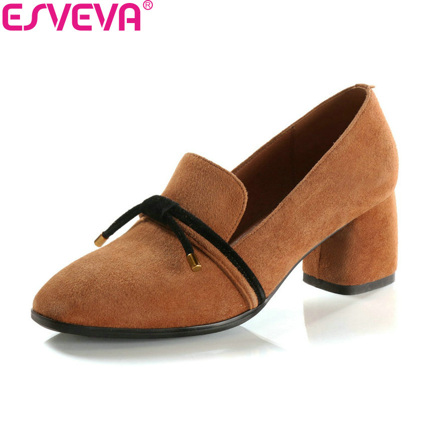 ESVEVA 2018 Women Pumps Elegant Shoes Square High Heels Kid Suede PU Square Toe Slip on Butterfly-knot Women Shoes Size 34-43 elegant women s round toe pumps with stiletto and suede design