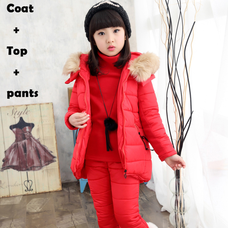Teenage Girls Clothing Sets Fashion Children Clothing Set Cotton Kids Tracksuit Hooded Baby Girl Winter Clothes Sets Thick Suits 2017 new kids clothes girls kitty clothing minnie sets baby cotton costumes children girl pajamas set roupas conjunto menina