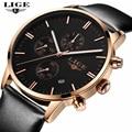 LIGE Marca Simples Moda Business Casual Relógios Homens pulseira de Couro À Prova D' Água Data Mens Watch Relógio de Quartzo Relogios Masculino