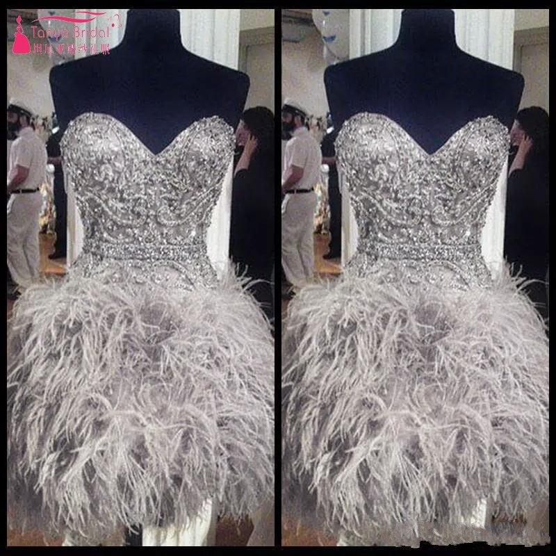 Короткие Выпускные платья с перьями Милая Корсет с воротником стойкой назад Выпускной бальное платье бисер кристалл коктейльное для девоч