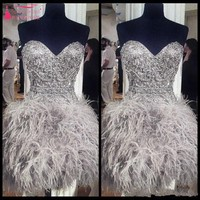Short Prom Dresses With Feathers Sweetheart Neck Corset Lace Up Back Graduation Homecoming Dress Beading Crystal Cocktail Girls