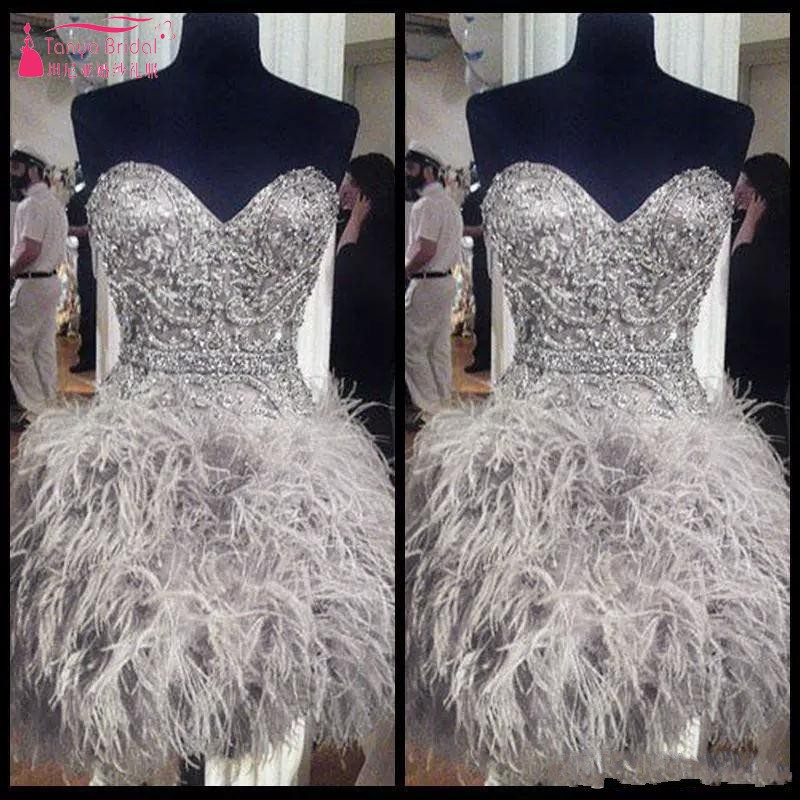 Short Prom   Dresses   With Feathers Sweetheart Neck Corset Back Graduation Homecoming   Dress   Beading Crystal   Cocktail   Girls JQ228