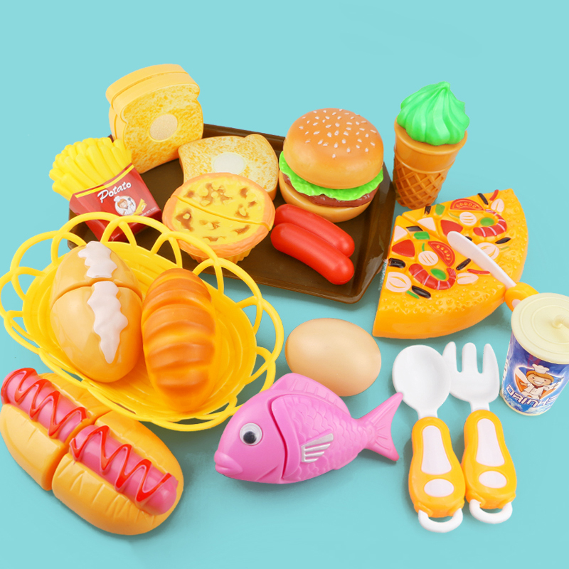 Children Kitchen Cutting Toys Pizza Hamburger Bread Fast Food Pretend Play Plastic Miniature Food Girls Kids Education Toy Gift birthday cake
