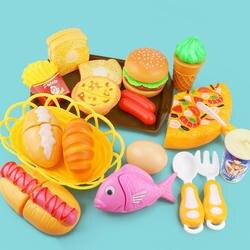 Детская кухня резки игрушки пицца, гамбургер хлеб Быстрая Еда ненастоящая играть пластиковый миниатюрный еда девушки Развивающие игрушки