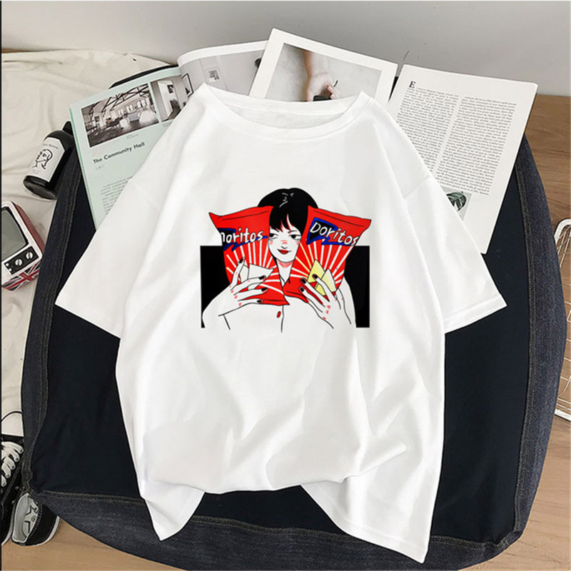 Women's Harajuku Japanese Kawaii Ladies Ulzzang Cartoon Fun Print T-shirts Summer Female Tops Korean Women's Clothes