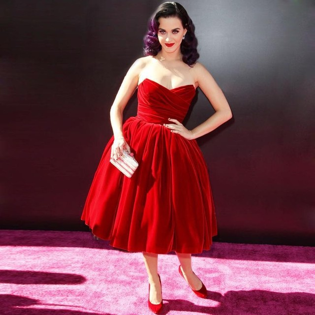 Katy Perry Celebrity Dresses Velvet Vintage Sweetheart Ball Gown Red Prom  Dresses Red Carpet Dresses Knee Length Cocktail Gowns 827a48d55836