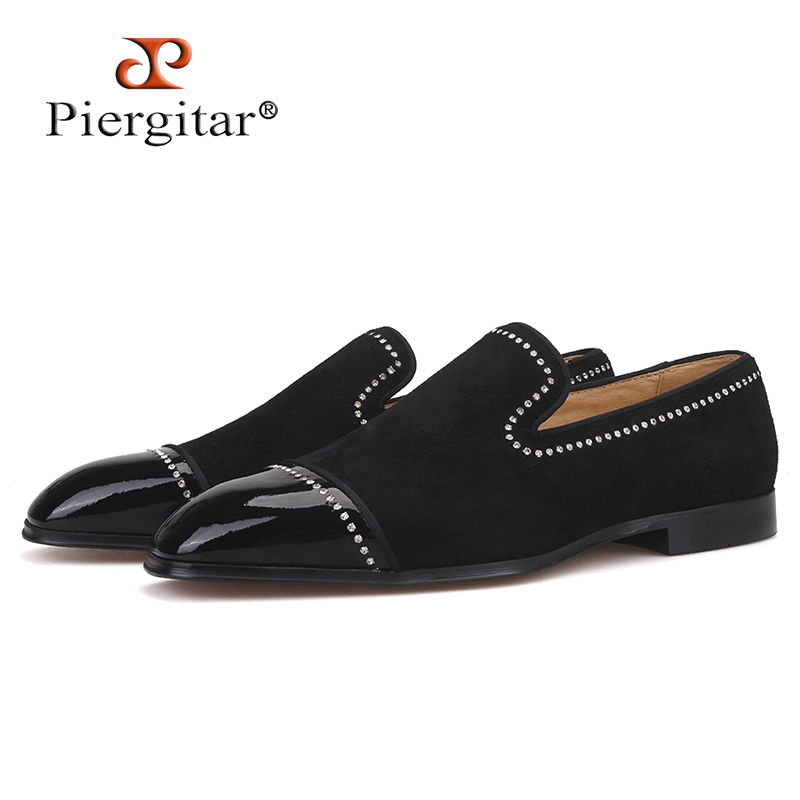 Piergitar 2019 handmade black suede leather men loafers rhinestone men casual shoes Fashion Party and wedding men dress shoesPiergitar 2019 handmade black suede leather men loafers rhinestone men casual shoes Fashion Party and wedding men dress shoes
